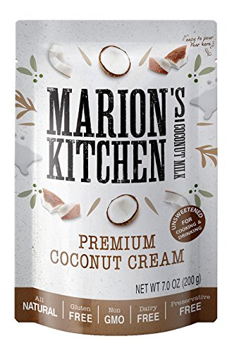Premium Coconut Cream by Marions Kitchen, Non GMO, All Natural, Unsweetened, 12 Pack.
