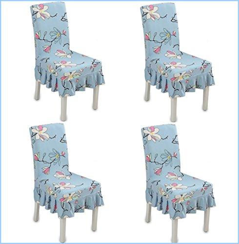 Chiavari Chair Covers (Deisy Dee Blue Flower Pattern Ruffled Long Skirt Dining Chair Slipcovers (Pack of 4) C028)