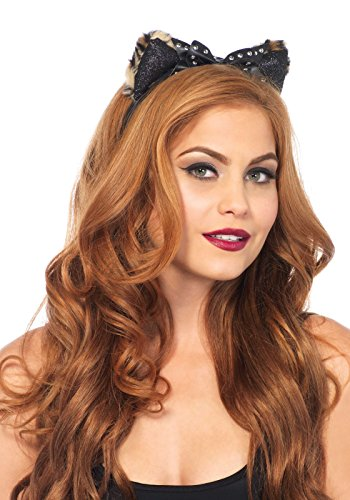 Leg Avenue Women's Plush Cheetah Ear Headband with Studded Bow Adult Costume, Black, One Sizes Fit Most