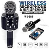 Syvo Wireless WS-858 Bluetooth Microphone Recording Condenser Handheld Microphone Stand With Bluetooth Speaker Audio Recording For Cellphone Karaoke Mike (Multi-Color)