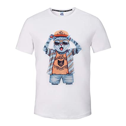 XIAOBAOZITXU T-Shirt Camiseta Ropa de Pareja Unisex impresión Digital 3D Gato de Dibujos Animados