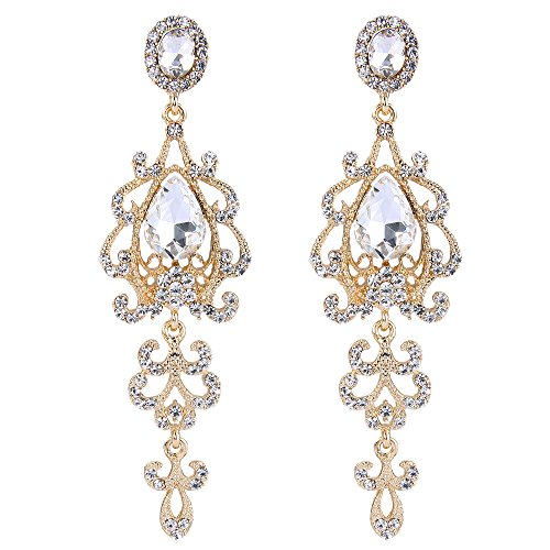 Gold Teardrop Chandelier Earrings - BriLove Women's Wedding Bridal Dangle Earrings with Victorian Style Crystal Teardrop Chandelier Clear Gold-toned