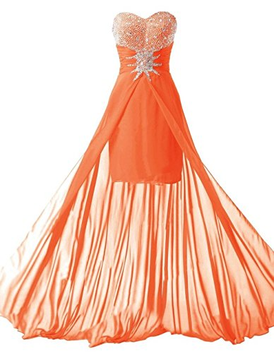 Promworld Damen Sweetheart Wulstige Abendkleider Orange 3HF6eR3