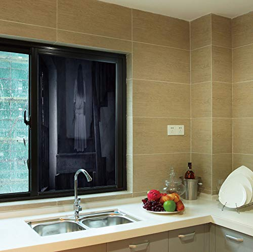 YOLIYANA 3D Antifouling Window Film,Halloween,for Toilet Bathroom Balcony,Horror Scenery Ghost Girl Figure on Stairway -