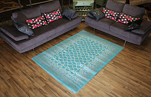 """Designer Collection Trellis Lace Design Contemporary Modern Area Rug Rugs 2 Different Color Options (Turquoise Blue, 4'11″x6'11"""") Review"""