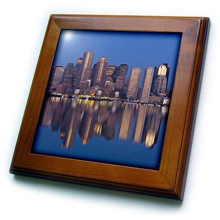 3dRose ft_91016_1 MA, Boston. Financial District from Logan Airport - US22 WBI0576 - Walter Bibikow - Framed Tile, 8 by 8-Inch