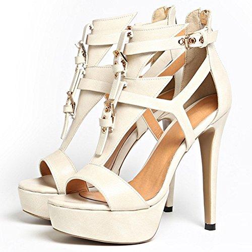 Summer Beige Heel Sandals Strap Fashion Party platform Women Stiletto Ankle strappy TAOFFEN 892 g7ZwzxqUR