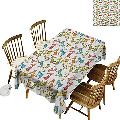 DONEECKL Motorcycle Leakproof Tablecloth Suitable for Buffet Table Famous Moped Bikes in Cartoon Style Retro Italian Scooters Multicolor W60 xL120 (Turquoise Scooter Clamp)