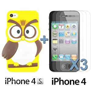 OnlineBestDigital - Owl Style Slim Soft Silicone Case for Apple iPhone 4S / Apple iPhone 4 - Yellow with 3 Screen Protectors