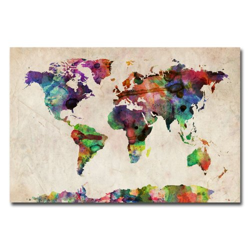 World map wall art amazon urban watercolor world map by michael tompsett 22x32 inch canvas wall art gumiabroncs Choice Image