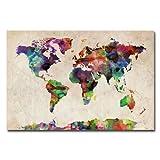 Trademark Fine Art Urban Watercolor World Map by Michael Tompsett Canvas Wall Art, 16x24-Inch