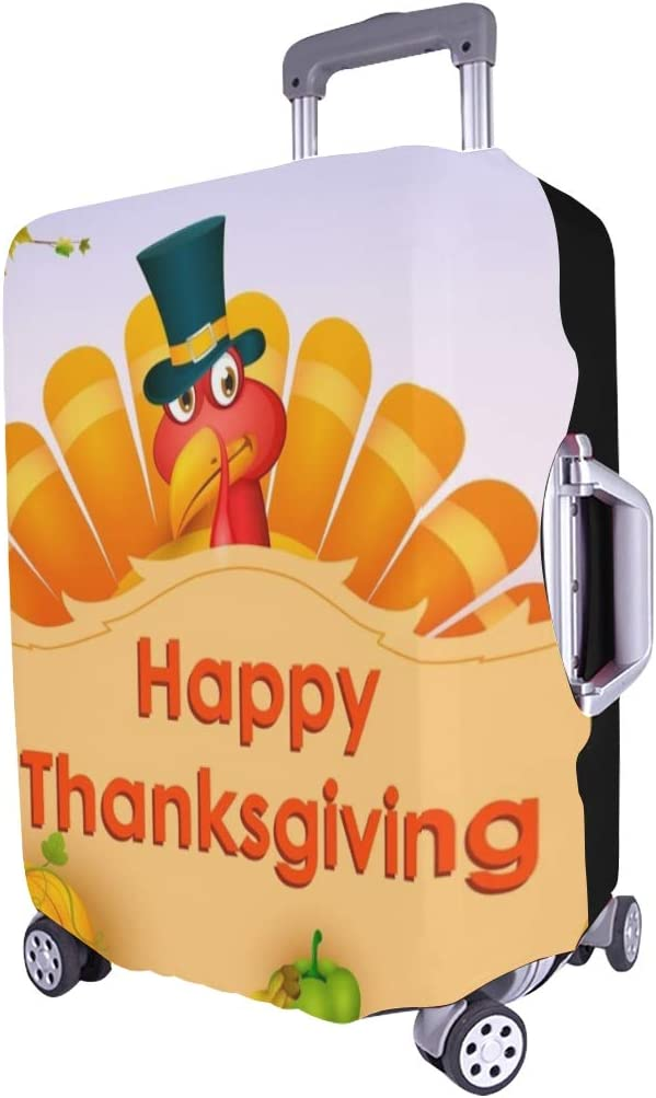 Happy Thanksgiving Wallpaper Spandex Trolley Case Travel Luggage Protector Suitcase Cover 28.5 X 20.5 Inch