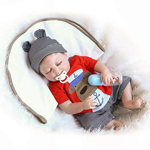 Nicery Reborn Baby Doll Hard Simulation Silicone Vinyl 18inch 45cm Magnetic Mouth Lifelike Vivid Waterproof Anatomically Correct Boy Girl Toy Closed Eyes Red Clothes Dog -