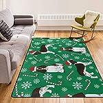 Super Soft Modern English Springer Spaniel Santa Christmas Area Rugs Living Room Carpet Bedroom Rug for Children Play Solid Home Decorator Floor Rug and Carpets 210 x 150 cm 6