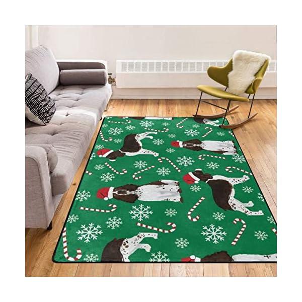 Super Soft Modern English Springer Spaniel Santa Christmas Area Rugs Living Room Carpet Bedroom Rug for Children Play Solid Home Decorator Floor Rug and Carpets 210 x 150 cm 1