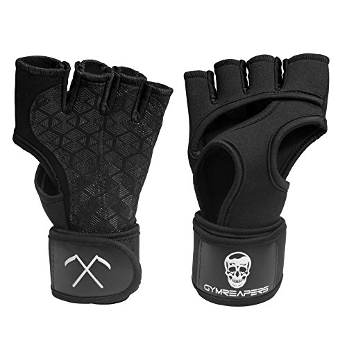 Cross Training Gloves With Built-in Wrist Wraps Support - Gymreapers Complete Callus & Palm Protection + Extra Grip - Best For Cross Training, Pull Ups, Kettlebells, Wod, & Weightlifting