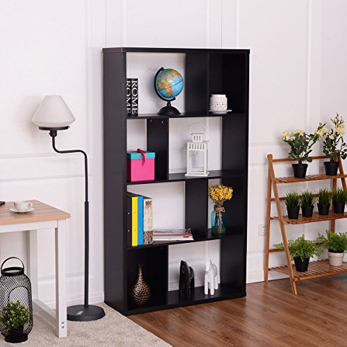 TANGKULA Modern Bookcase Multipurpose Collection Display Storage Bookshelf Black (Black Bookcase Large Antique)