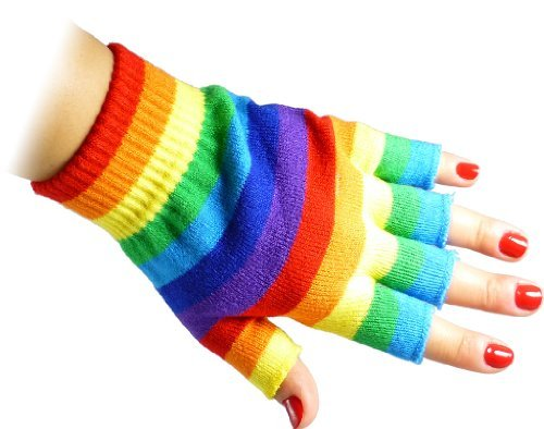 Rainbow Fingerless Gloves (JTC Belt Unisex Half Finger Stretchy Fingerless Gloves One Size Fits Most Rainbow)