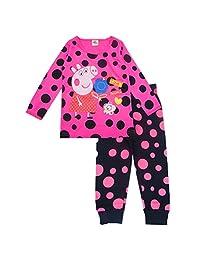 Baby Girls Peppa Pig 2 Piece Long Sleeve Jersey Nightwear Cute Pjs Set(1-7Years)