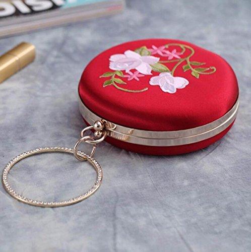 GSHGA Nuevo Bolso De Embrague Del Bolso De Noche Bolso Redondo Del Vestido Del Bordado De La Vendimia De La Flor,Pink Red