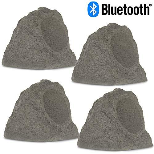 Theater Solutions RBBT6GMV4 Fully Wireless 400 Watt Rechargeable Battery Bluetooth Slate Grey Rock 4 Speaker Set with 6.5″ Woofers