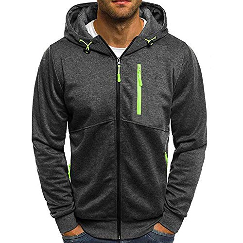 Bke Leather (Autum Winter Long Sleeve Zipper Patchwork Hooded Sweatshirt Mens Cardigan Tops)