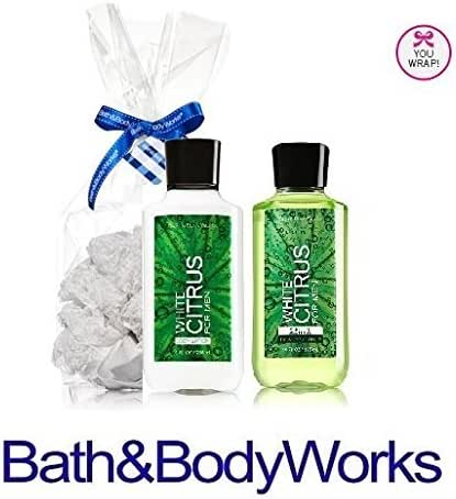 Bath & Body Works Just for Him Gift Set WHITE CITRUS FOR MEN Body Lotion & 2 in 1 Hair Body Wash Lot of 2 Full Size