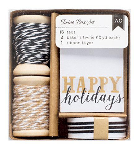 American Crafts Twine Boxes Gold & Silver 16 Tags, 2 Twine Spools (10 Yards Each), 1 Ribbon (4 Yards)