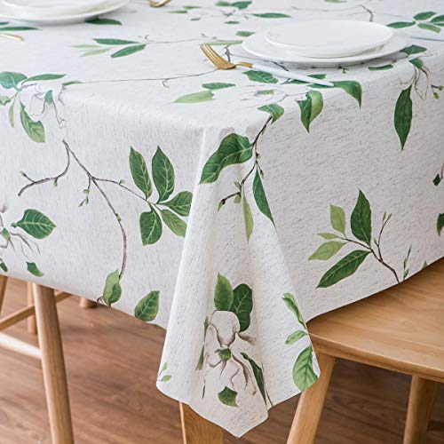 LEEVAN Heavy Weight Vinyl Rectangle Table Cover Wipe Clean PVC Tablecloth Oil-Proof/Waterproof Stain-Resistant/Mildew-Proof (54'' x 108''-140x275 cm, Green Leaf)