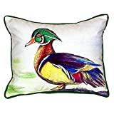 Betsy Drake SN145 Male Wood Duck Script Pillow,,11'' X14''
