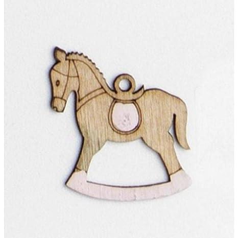 Cavallo A Dondolo Legno Bomboniera.48x Cavallo A Dondolo Rosa In Legno 4 Cm Decorazione