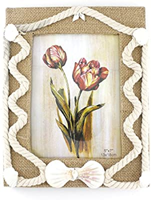 b20714abd6268 Zhenzan Frames Special Wood Picture Photo Frame with Linen Coat and  Decorated with Cotton Rope and Shells,with Glass Front (5x7, Style 1)