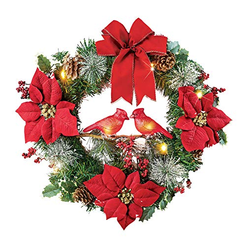 Winter Holiday Light Up Cardinals Couple Wreath, for Front Door or Indoor Wall Decor, with Pinecones, Bows, Poinsettias