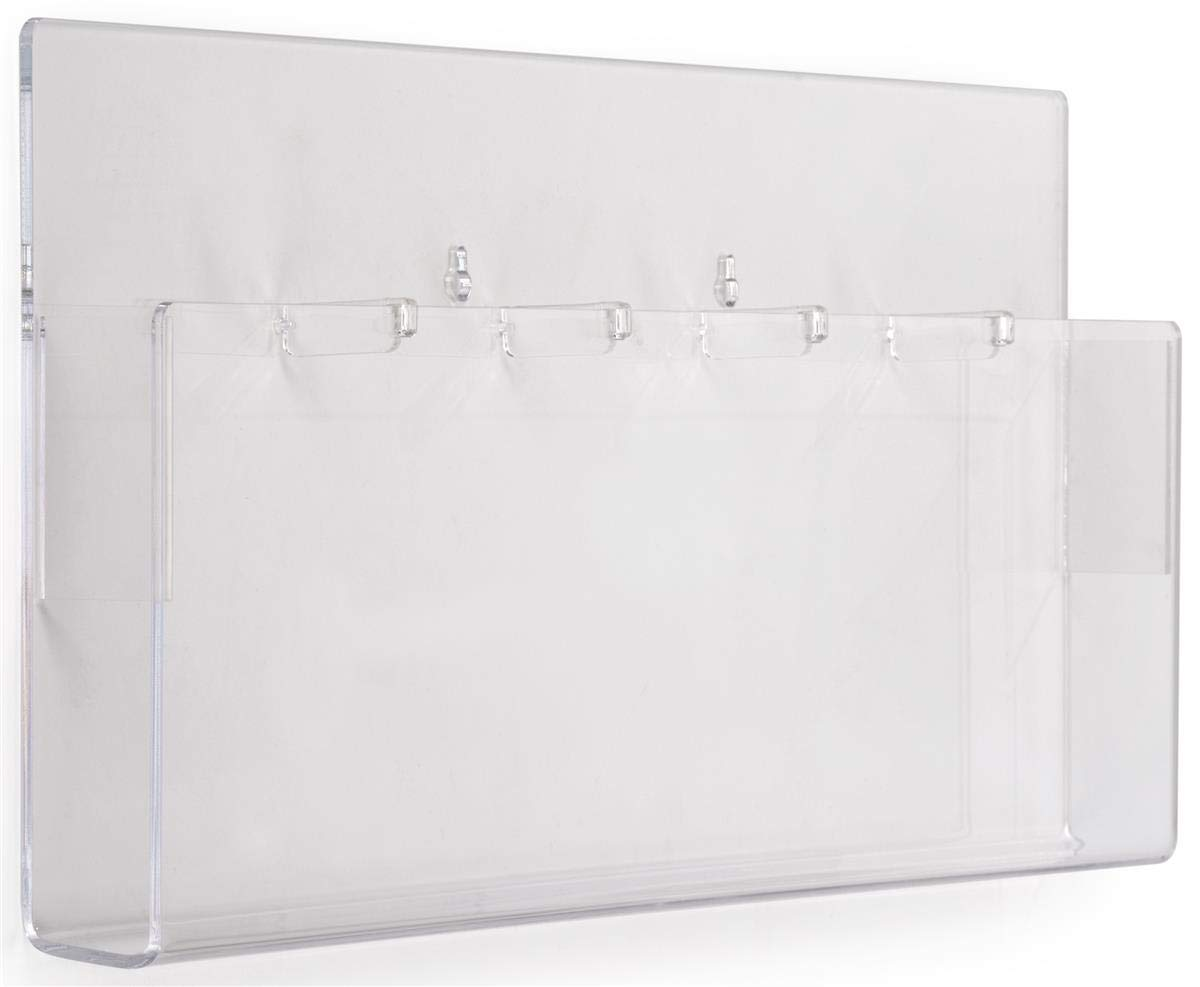Displays2go Indoor Wall Brochure Holder, 5-Pocket, Removable Dividers, Set of 2, Clear (NGW5)