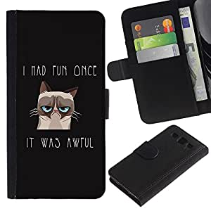 All Phone Most Case / Oferta Especial Cáscara Funda de cuero Monedero Cubierta de proteccion Caso / Wallet Case for Samsung Galaxy S3 III I9300 // I Had Fun Once Angry Cat