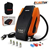 Digital Tire Inflator Portable Air Compressor 12V Auto Pump, 3 Adaptors for Inflatables, 1 Extra Fuse, Carry Bag, BONUS 4 Self Monitoring Valve Caps