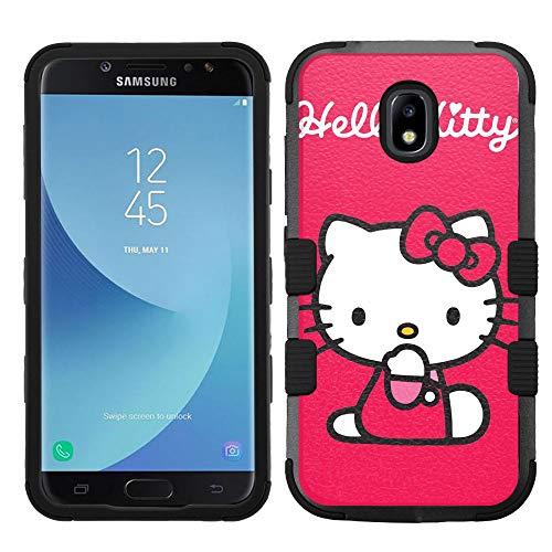 (for Galaxy J7 Crown, J7 Refine, J7 Star, J7V 2nd Gen. SM-J737, Hard+Rubber Hybrid Rugged Impact Cover Case - Hello Kitty #RDD )
