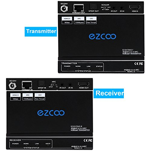 EZCOO 4K HDMI 2.0/HDBaseT Extender ARC HDR Scaler, Uncompressed 4K 60Hz 4:4:4 18Gbps HDCP 2.2 SPDIF, 1080P Scaler Out, 230ft 1080P, 130ft 4K over signal Cat5e/6/7, Bi-directional PoE+IR, CEC, DTS:X by EZCOO (Image #2)