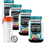 INVIGOR8 Superfood Shake (4 Pack Vanilla & Free Shaker Bottle) Gluten-Free and Non GMO Meal Replacement Grass-Fed Whey Protein Shake with Probiotics and Omega 3 (2580g)