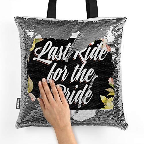NEONBLOND Mermaid Tote Handbag Floral Border Last Ride for the Bride Reversible Sequin