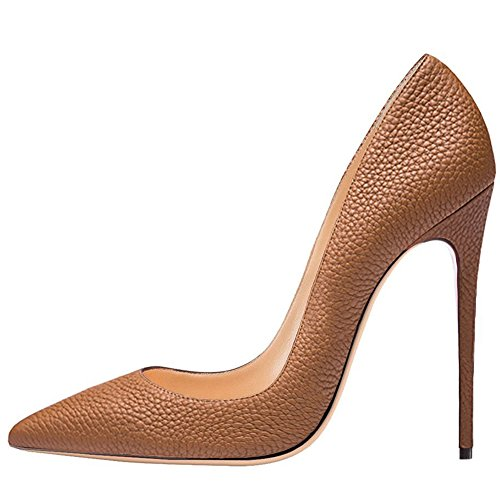 Brown Suede Pumps (Kmeioo High Heels, Women's Pointed Toe High Heel Slip On Stiletto Pumps Evening Party Basic Shoes Plus Size-Brown Snake 8.5 M US)