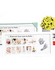 Olele Baby First Year Photo Frame - Baby Handprint&Footprint Kit Babies Memorable Keepsake Set Picture Frame with Non-Toxic Clay/Ink - Best Shower/Birth Registry Gifts for Newborn Infant