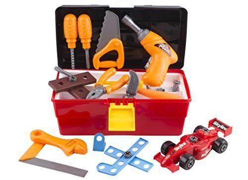 Tool Toy Set Pretend Play 44 Pieces with Electronic Drill, Construction Kit Accessories, Tools Box, F1 Car DIY and Hammer Wrench for Boys Age 3,4,5,6,7,8 ()