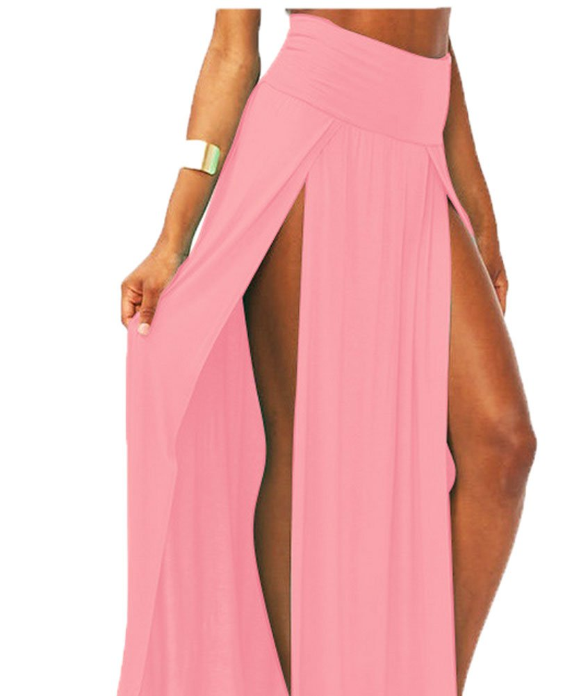King Ma Women's Trends High Waisted Double Slits Maxi Skirt (Pink)