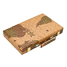 Once ZY Time Luxury PU Leather Backgammon Set Board Games Travel Games Wooden Folding Portable 15-inch
