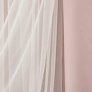 """Best Home Fashion Lace Tulle Overlay Thermal Insulated Solid Blackouts - Rod pocket - Dustypink - 52""""W x 96""""L - (Set of 2 Panels)"""