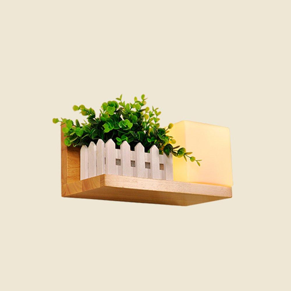 Einfache Moderne Art-hölzerne Lampen-Körper-Glaslampenschirm E27 Wand-Lampe (Farbe   Lights on The Right)