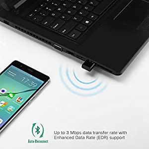 UGREEN USB Bluetooth 4.0 Adapter Wireless Dongle Receiver for PC, Desktop, Laptop with Windows 10, 8, 7, XP, Vista for Bluetooth Stereo Headset Music, Keyboards, Mouse, Gamepads, Speakers (Black)