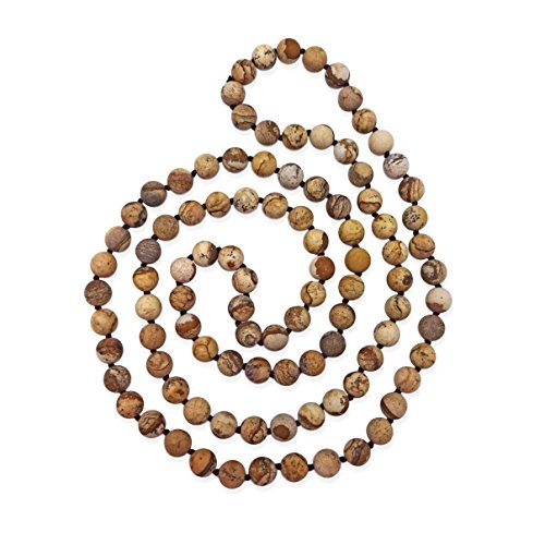 MGR MY GEMS ROCK! 36 Inch 8MM Matte Finish Semi-Precious Genuine Picture Jasper Long Endless Infinity Beaded Strand Necklace.