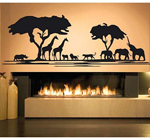 (Africa Wall Art Decals Decor - African Woman Savannah Animals Pride Stickers Decorations - Vinyl Pictures for Office Studio Shop Home Kids Nursery Boys Girls Room Bedroom Door Window CT078)